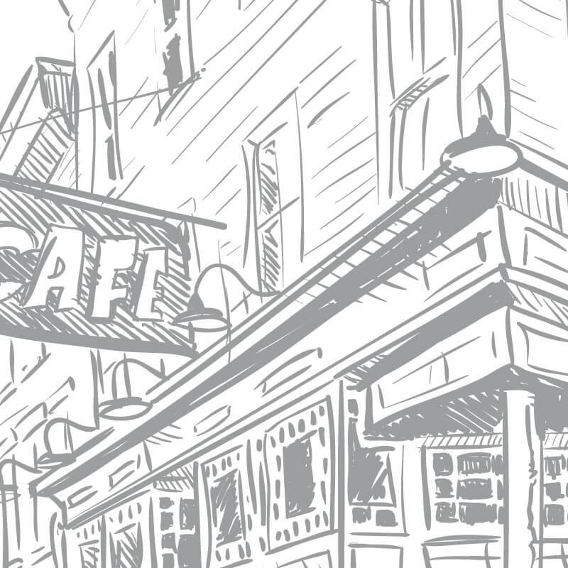 Collection de papier peint Multilés CAFE STREET – Réf. CF8025 par LGD01