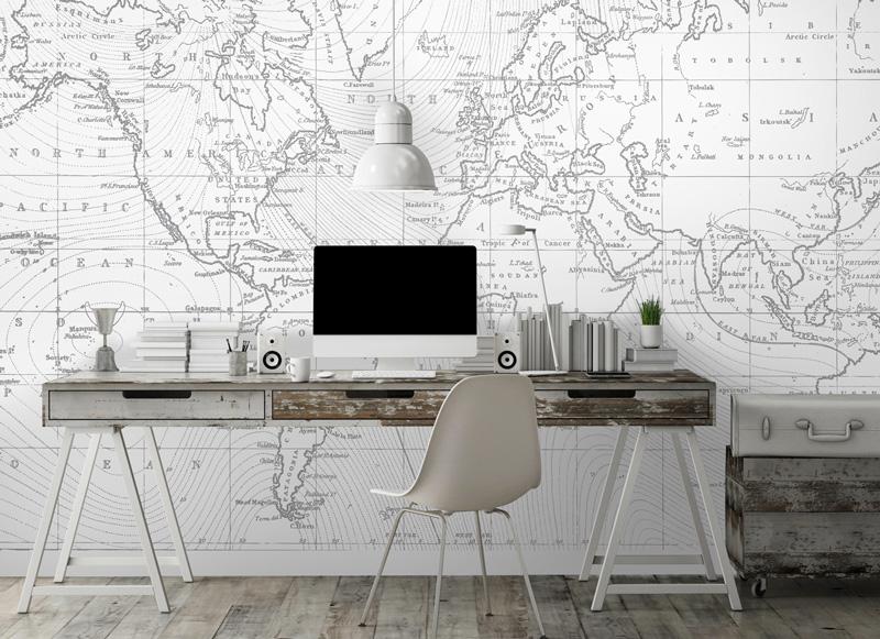 Papier peint sur mesure LGD01 Collection MultiLés / Panoramique 4 lés / GéoMAP