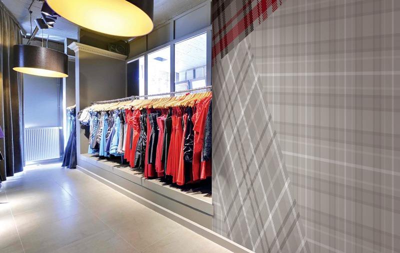Papier peint sur mesure LGD01 Boutique décor motif Tartan